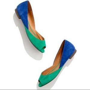 MADEWELL 1937 Colorblock Suede Flats Green & Blue